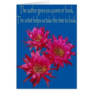 El cactus de erizo florece como tarjeta con el poe