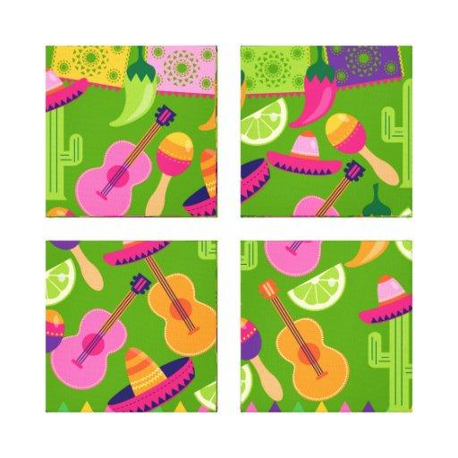 El cactus del sombrero del fiesta de la fiesta abo impresiones de lienzo
