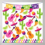 El cactus del sombrero del fiesta de la fiesta abo posters