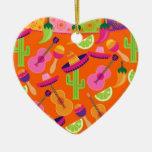El cactus del sombrero del fiesta de la fiesta adorno navideño de cerámica en forma de corazón