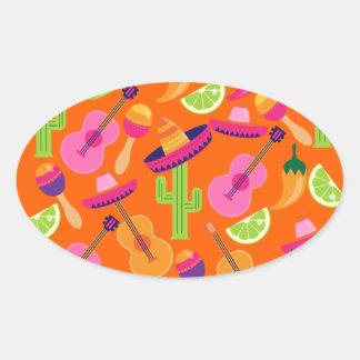 El cactus del sombrero del fiesta de la fiesta colcomanias de óval