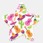 El cactus del sombrero del fiesta de la fiesta pegatinas forma de estrellaes