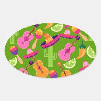 El cactus del sombrero del fiesta de la fiesta pegatina ovalada