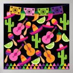 El cactus del sombrero del fiesta de la fiesta póster