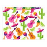 El cactus del sombrero del fiesta de la fiesta tarjeta postal