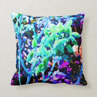 el cactus floral abstracto florece el azul cojines