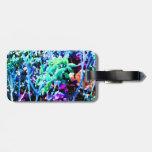 el cactus floral abstracto florece el azul etiqueta de equipaje