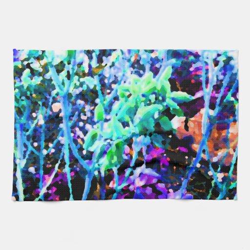 el cactus floral abstracto florece el azul toallas de cocina