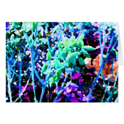 el cactus floral abstracto florece el azul tarjetón
