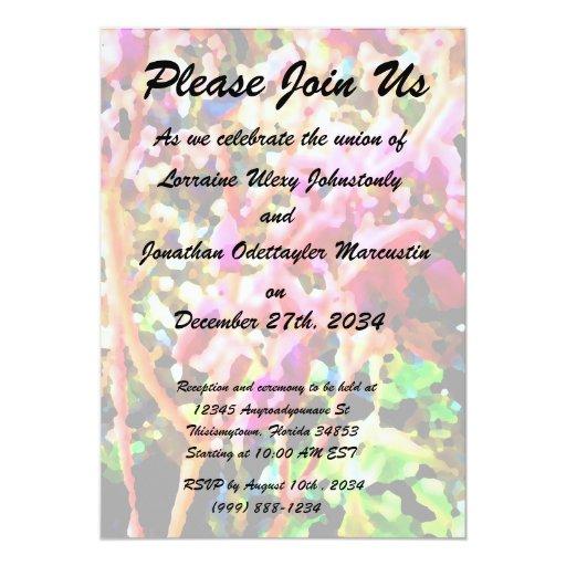 """el cactus floral abstracto florece rosa invitación 5"""" x 7"""""""
