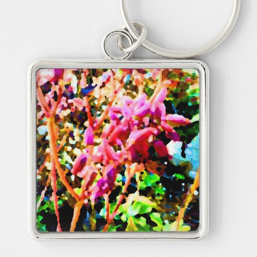 el cactus floral abstracto florece rosa llavero cuadrado plateado