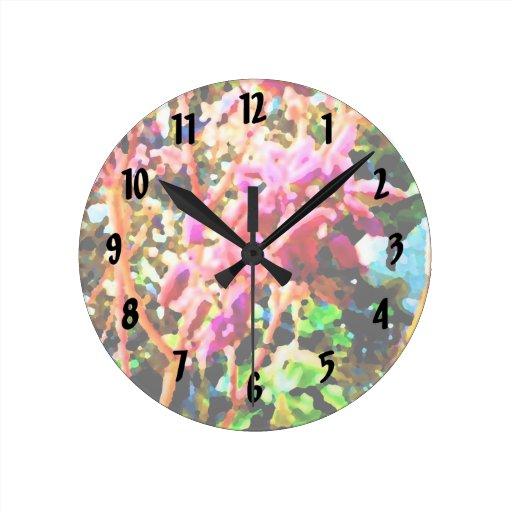 el cactus floral abstracto florece rosa reloj redondo mediano
