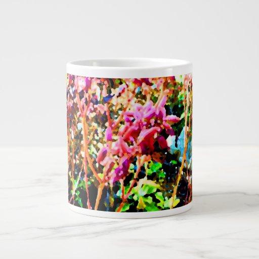 el cactus floral abstracto florece rosa taza jumbo