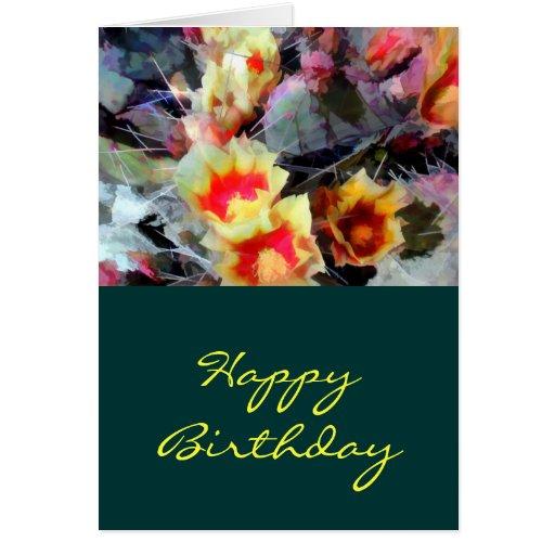 El cactus florece brillante y espinoso tarjeta de felicitación