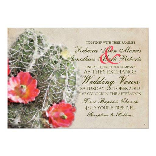El cactus florece la invitación del boda