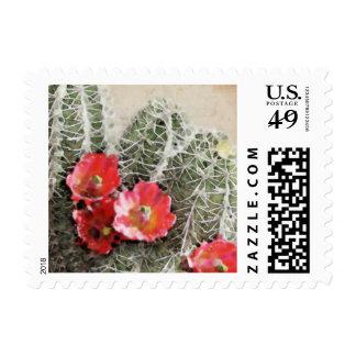 El cactus florece las ilustraciones sellos postales