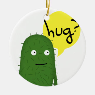 el cactus quiere un cierto amor adorno navideño redondo de cerámica