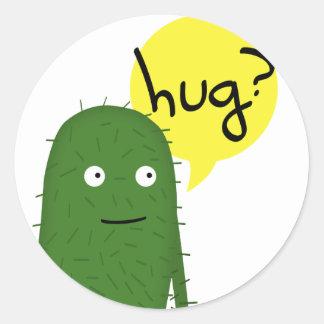 el cactus quiere un cierto amor pegatina redonda