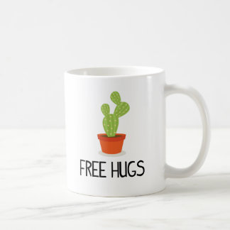 El cactus suculento lindo libera abrazos taza de café