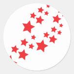el caer de las estrellas del rojo pegatina redonda