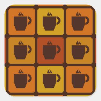 El café ajusta a los pegatinas pegatina cuadrada