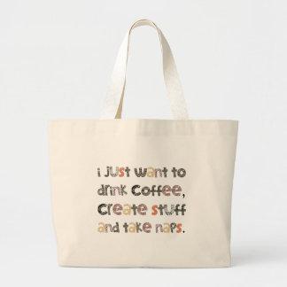 El café de la bebida, crea la materia y toma bolsas lienzo