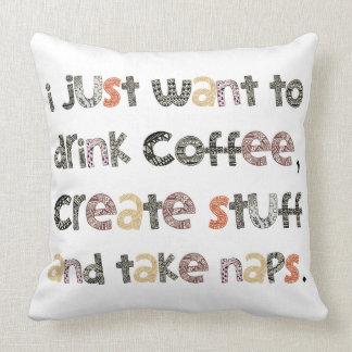 El café de la bebida, crea la materia y toma cojín