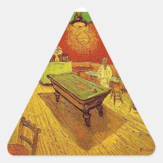 El café de la noche de Vincent van Gogh Calcomanías Trianguloes
