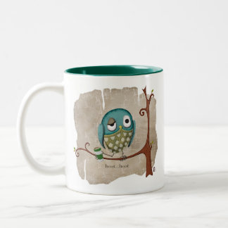 El café del búho despierta llamada taza