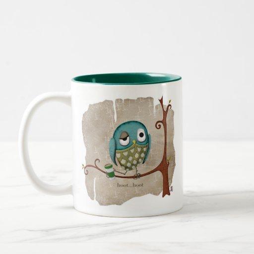 El café del búho despierta llamada taza dos tonos
