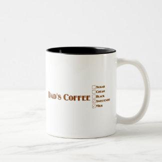 El café del papá con leche y el edulcorante tazas