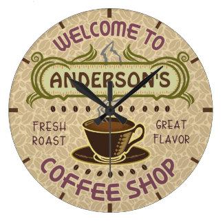 El café el | de las habas de la taza de la reloj redondo grande