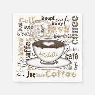 El café en todo el mundo nombra servilletas desechables