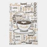 El café en todo el mundo nombra toalla de cocina