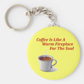El café es como una chimenea caliente para el alma llavero personalizado