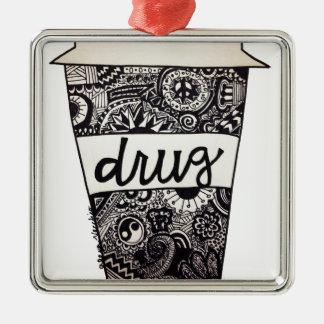 """El """"café es diseño de mi droga"""" ornamentos de navidad"""