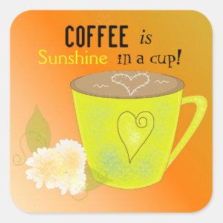 El café es mi cita de la sol pegatina cuadrada