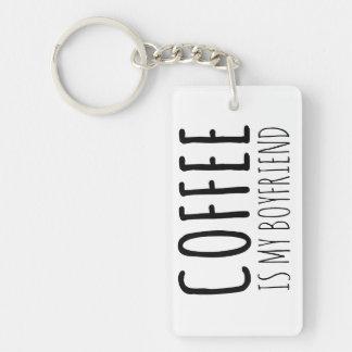 El café es mi novio llavero rectangular acrílico a doble cara