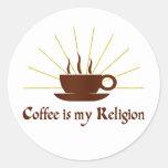 El café es mi religión etiquetas redondas
