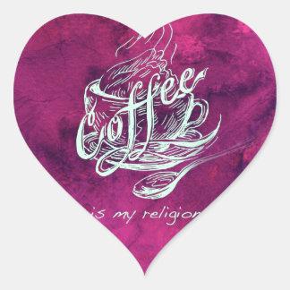 ¡El café es mi religión! Calcomania De Corazon Personalizadas