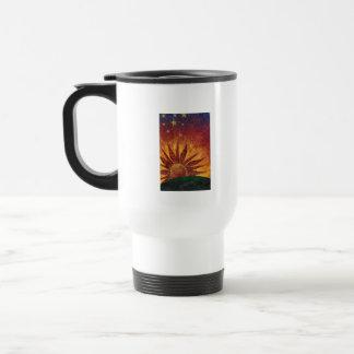 El café es taza del viaje de la vida