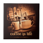 El café es vida teja  ceramica