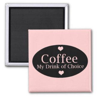 El café firma adentro rosa y negro imanes