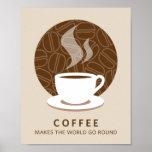 El café hace que el mundo va alrededor de la impre posters