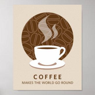 El café hace que el mundo va alrededor de la impre póster