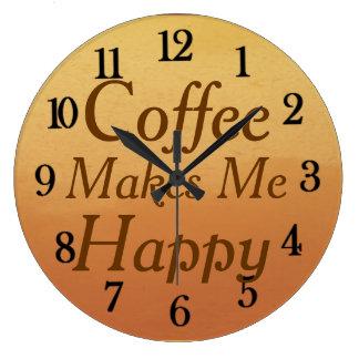 El café hermoso me hace la cocina feliz reloj redondo grande