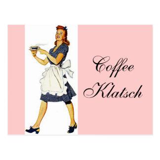El café Klatsch de la camarera del vintage de la Postales