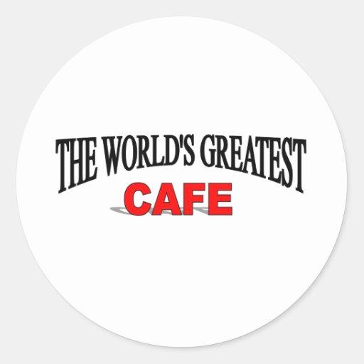 El café más grande del mundo etiquetas redondas