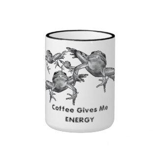El café me da energía: Salto de ranas: Lápiz Taza De Dos Colores