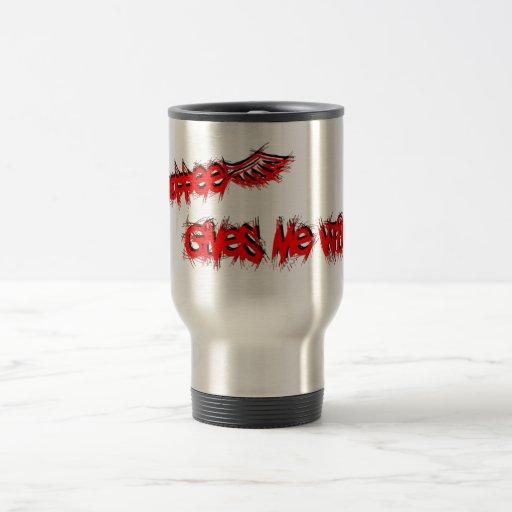 El café me da rojo de las alas en negro tazas